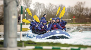Photo of a group of people rafting