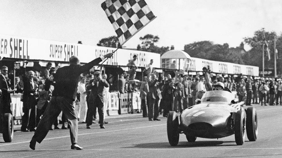 10 amazing facts about Stirling Moss; chequered flag