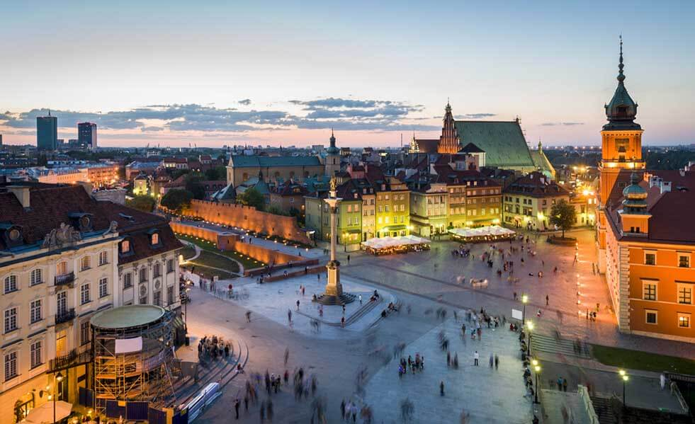 Aerial view of Warsaw Old Town at twilight