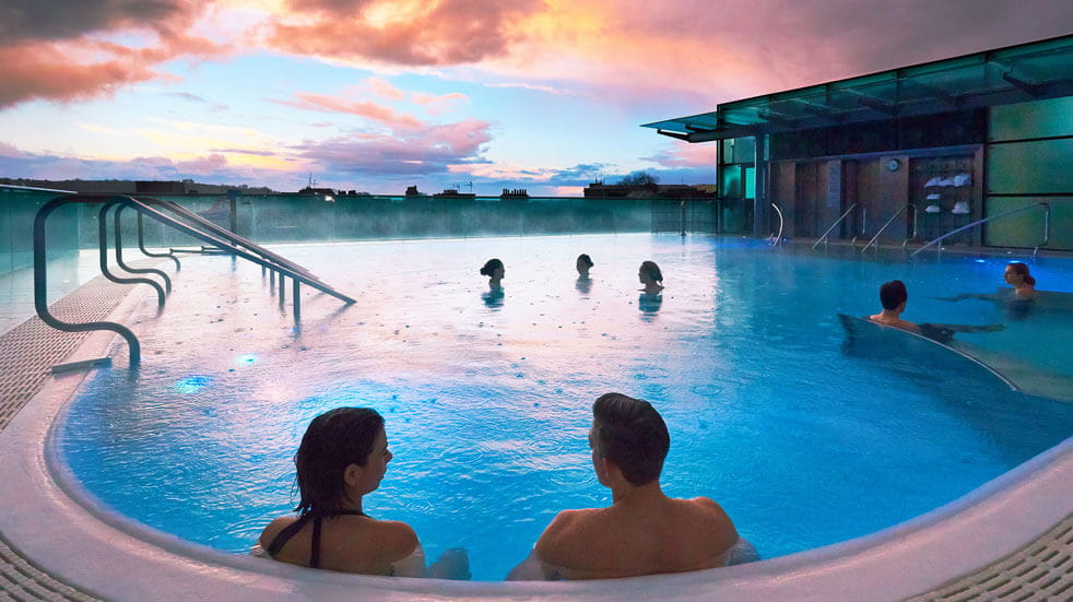 Relax at Thermae Bath Spa's rooftop pool: credit Thermae Bath Spa