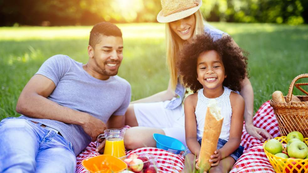 Family having picnic and smiling