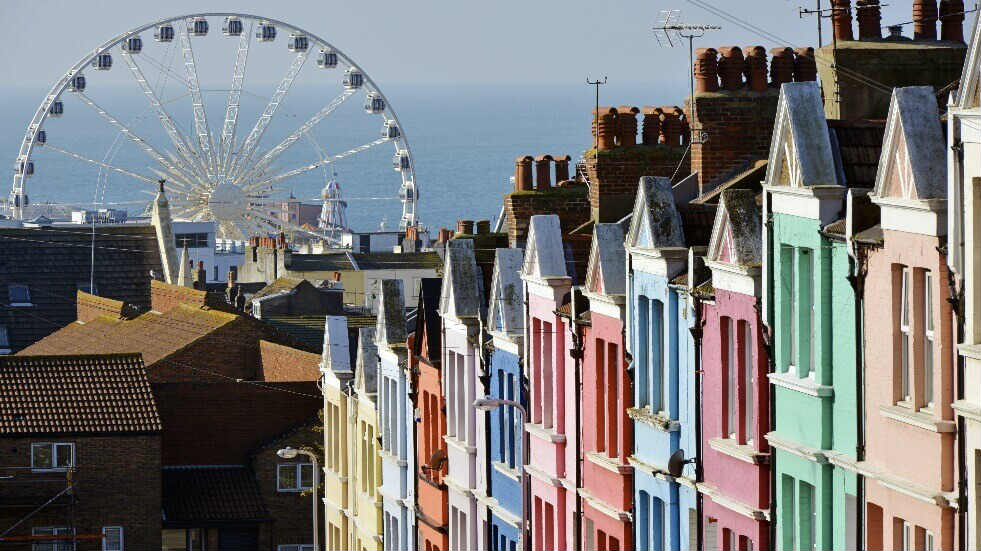 Sussex colourful houses and Ferris Wheel