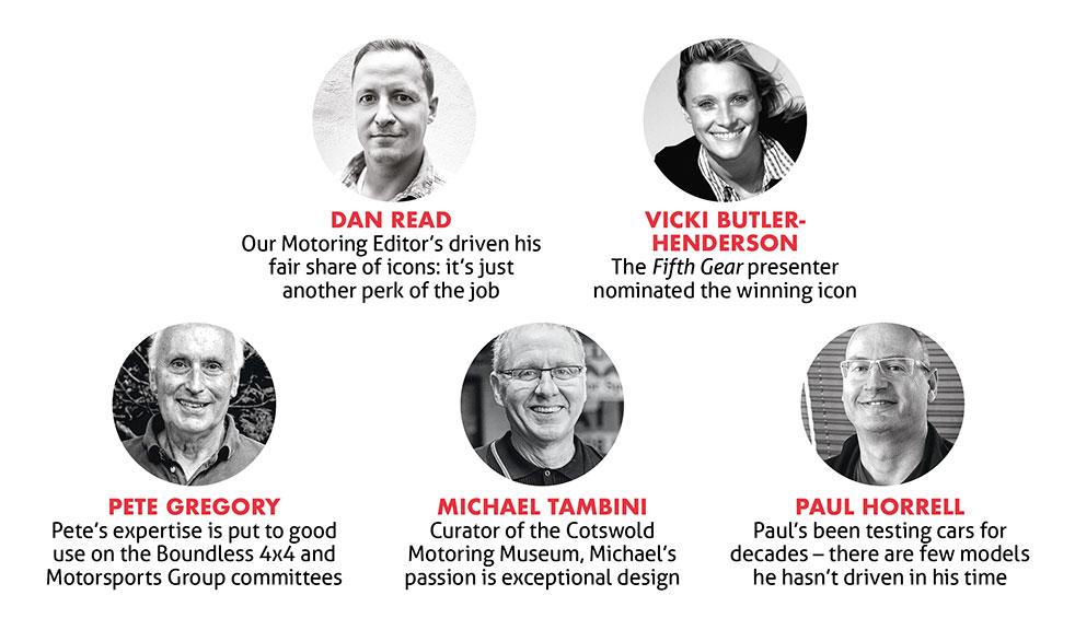 Most iconic cars judging panel: Dan Read, Vicky Butler-Henderson, Pete Gregory, Michael Tambini and Paul Horrell