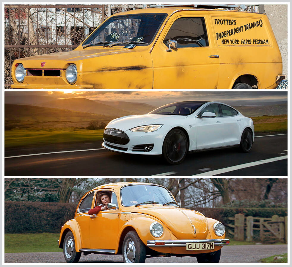 The 100 best classic cars: Reliant Regal Van, Tesla Model S, VW Beetle