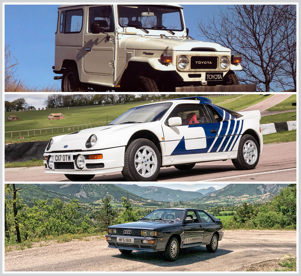 The 100 best classic cars: Toyota Land Cruiser 40 Series, Ford RS2000 Group B Rally Car, Audi Quattro