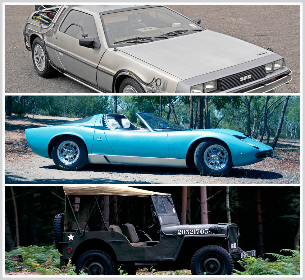 The 100 best classic cars: DeLorean, Lamborghini Miura, Willys Overland Jeep