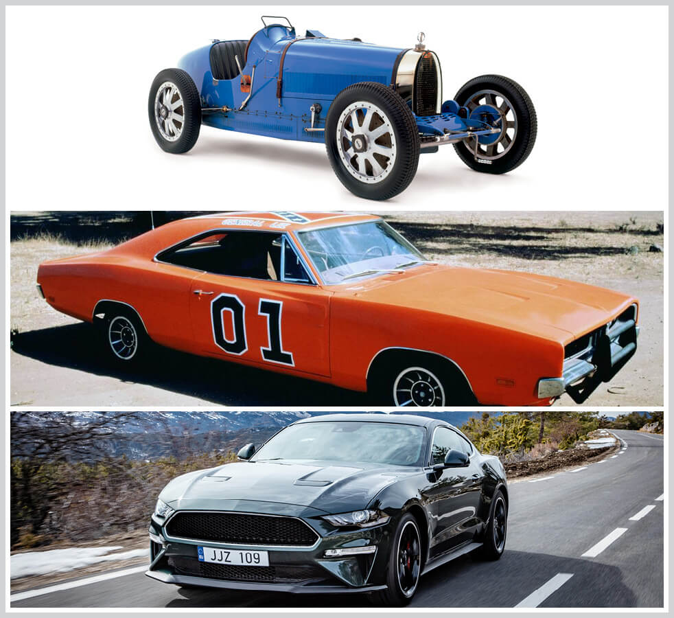 The 100 best classic cars: Bugatti Type 35, General Lee (Dodge Charger), Ford Mustang