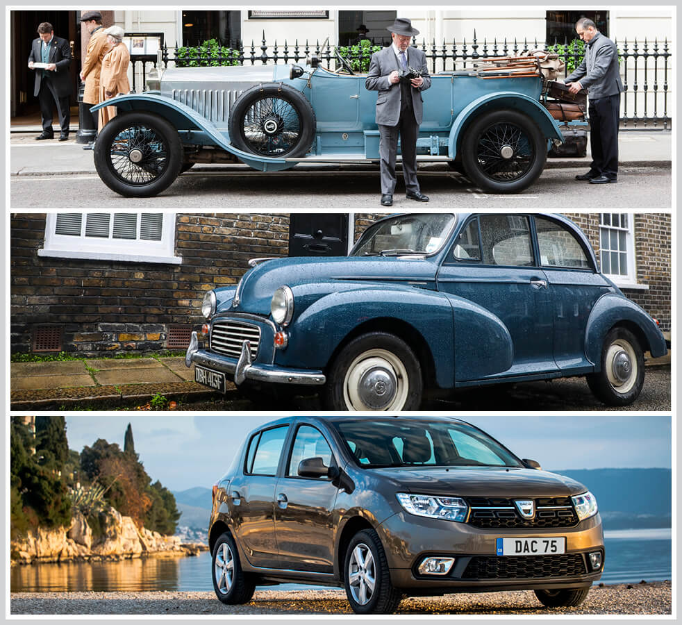 The 100 best classic cars: Rolls-Royce Silver Ghost, Morris Minor 1000, Dacia Sandero