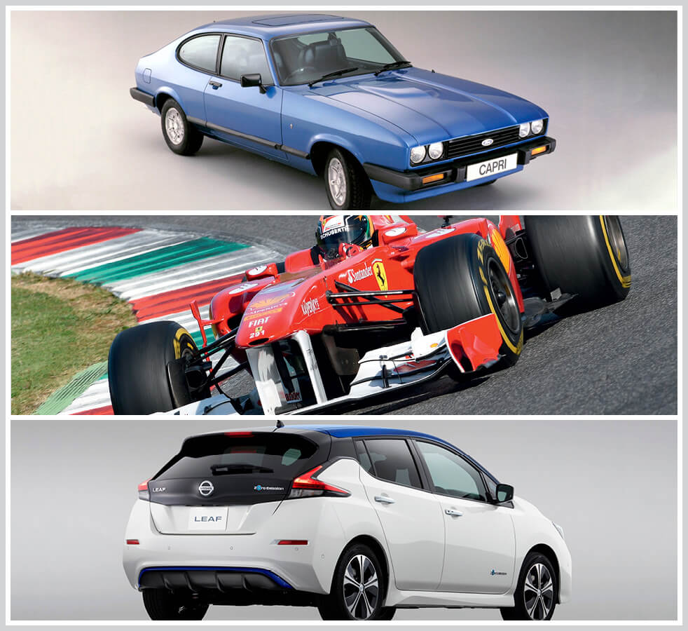 The 100 best classic cars: Ford Capri, Ferrari F2002, Nissan Leaf