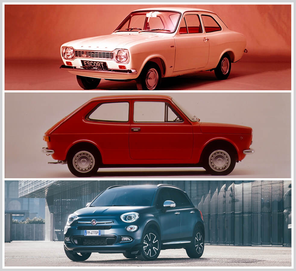 The 100 best classic cars: Ford Escort Mk 1, Fiat 127 and Fiat 500