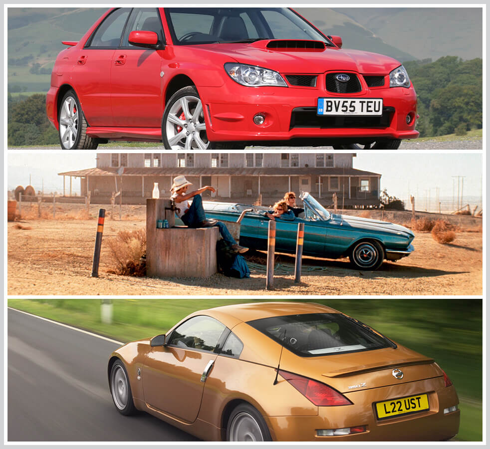 The 100 best classic cars: 2006 Subaru WRX STi, 1966 Ford Thunderbird, Nissan 350Z