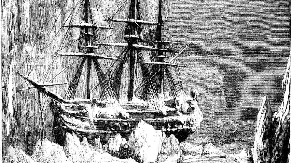 The two ships in Sir John Franklin's Northwest Passage expedition became trapped in ice off King William Island