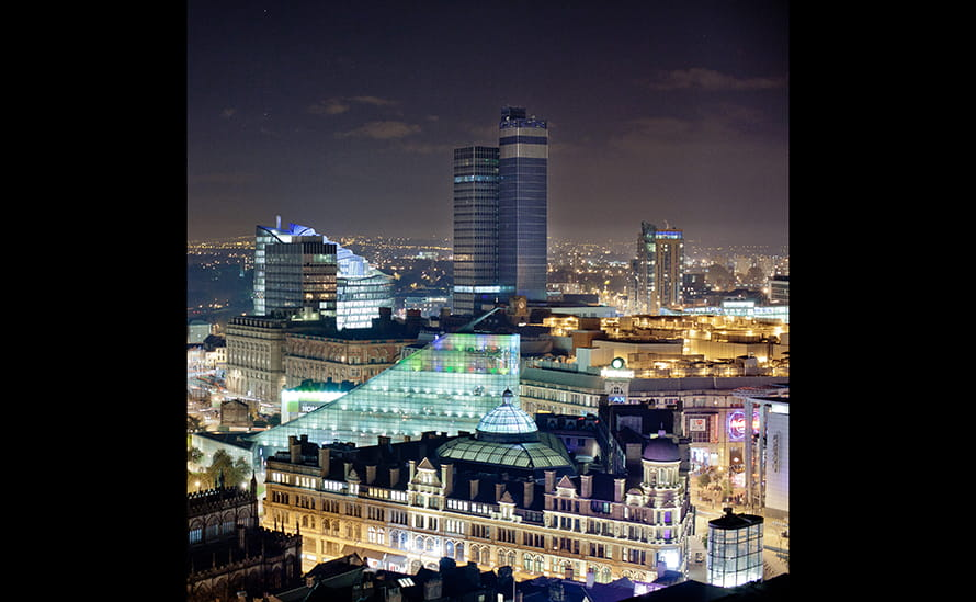 Manchester city skyline at night