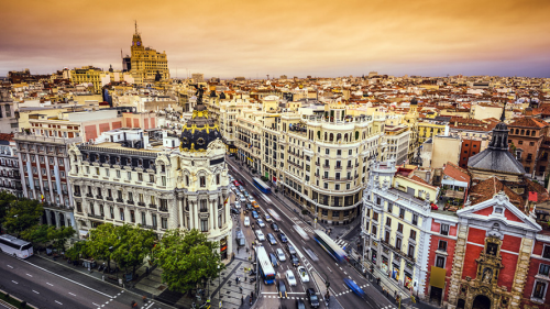 Best off peak holiday destinations in Spain: Aerial view of a busy road in Madrid