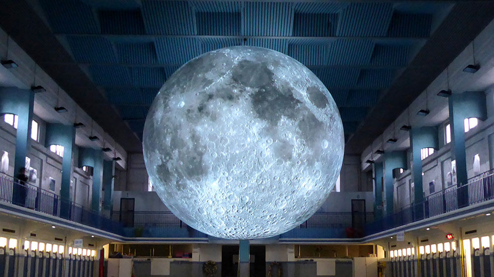 Free things to do: Museum of the Moon art installation by Luke Jerram © Les Tombees de la nuit, Rennes, 2017