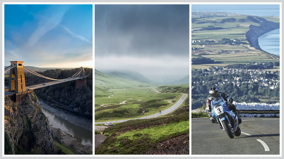 The 50 greatest UK drives: TT motorcycle course on Isle of Man, Trossachs and Cairngorms, and Bristol's Clifton Suspension Bridge