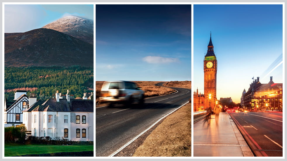 The 50 greatest UK drives: central London, the Brecon Beacons, and the Mourne Mountains in County Down