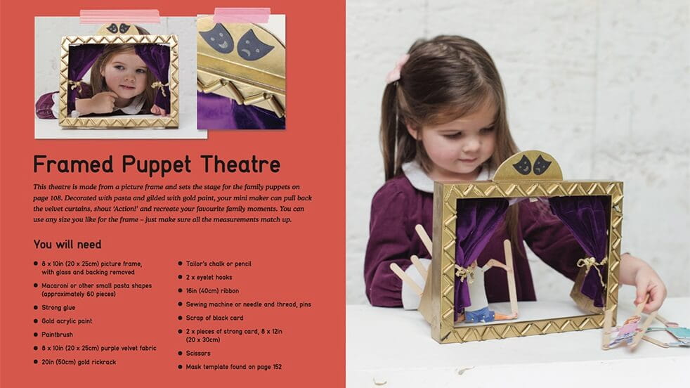 a little girl with her Framed Puppet Theatre kit