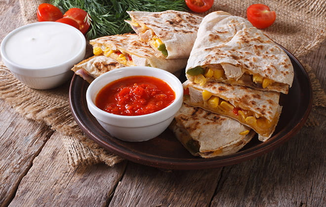 Chicken Quesadillas with Sweetcorn Salsa