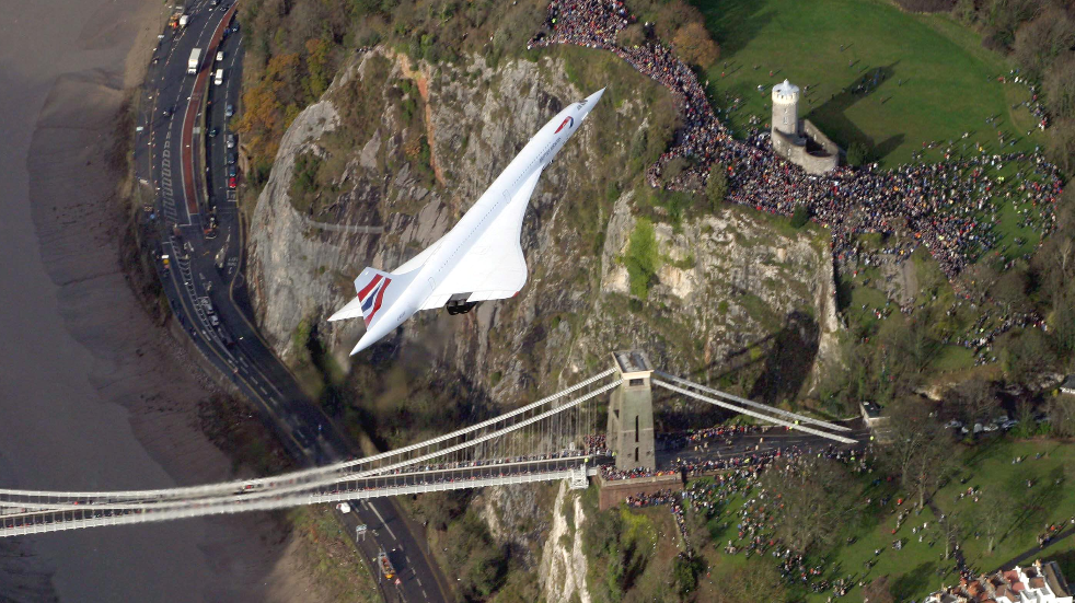 Concorde over Clifton Suspension Bridge Bristol