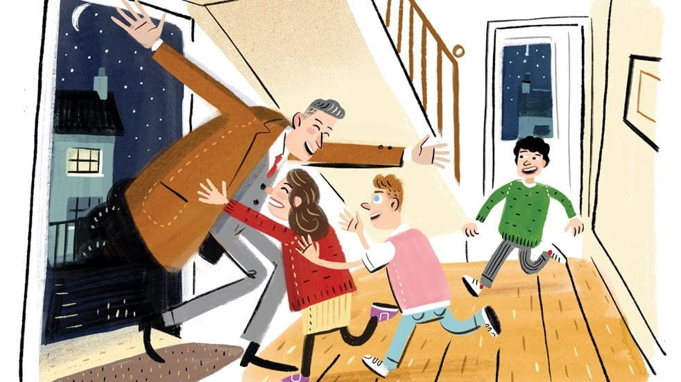 Just four minutes of enthusiasm when you come home from work can really boost family mood