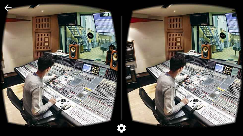 Virtual view of Abbey Road music studios, showing engineer at a mixing desk