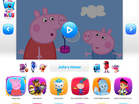 Screen showing episode of Peppa Pig, plus menu options for other children's TV programming