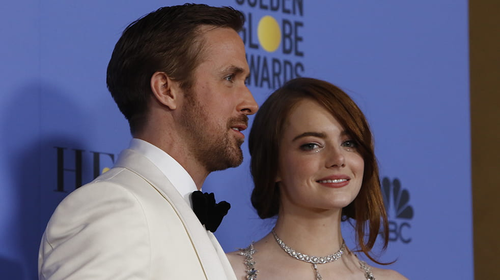 Ryan Gosling and Emma Stone at the Golden Globes