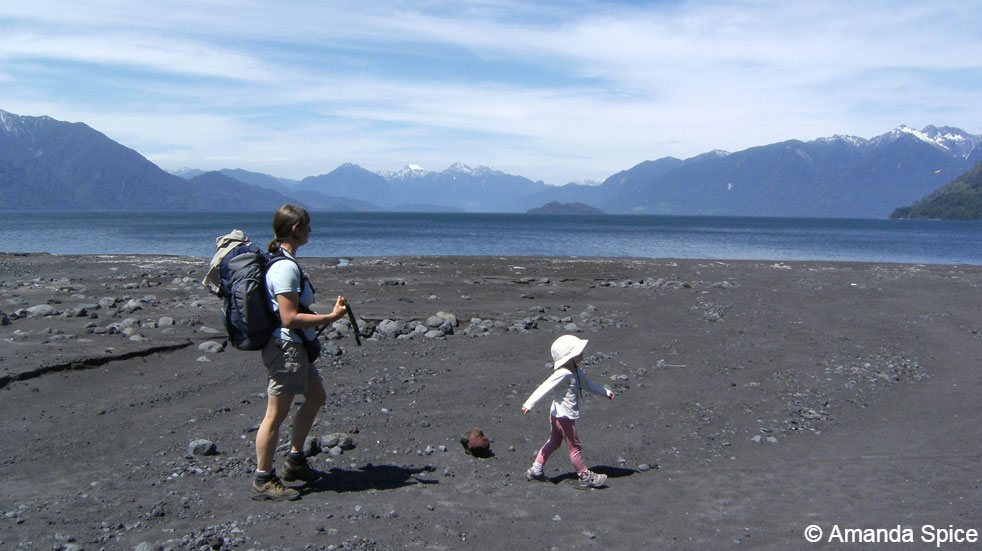 Backpacking with kids; walking on the beach