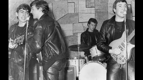 The Beatles, with original drummer Pete Best, onstage at The Cavern Club in Liverpool in February 1961.