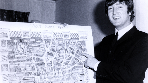 June 1964: On tour in Australia, John Lennon orients himself with a map of Liverpool.