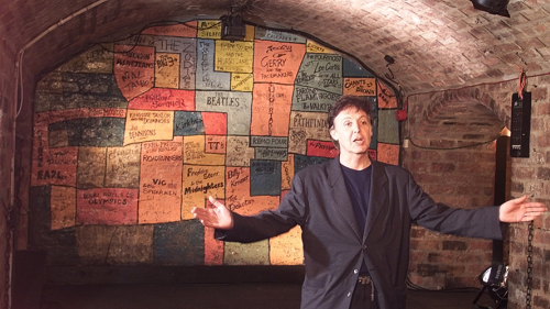 Paul McCartney returns to the Cavern Club after 36 years, in 1999.