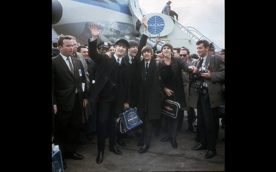 February 1964: The Beatles arrive at New York's Kennedy Airport ahead of their American TV debut.