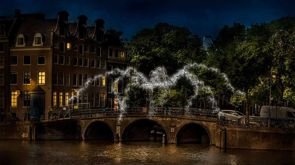 Best winter illuminations: Amsterdam light festival, Spiders on the Bridge