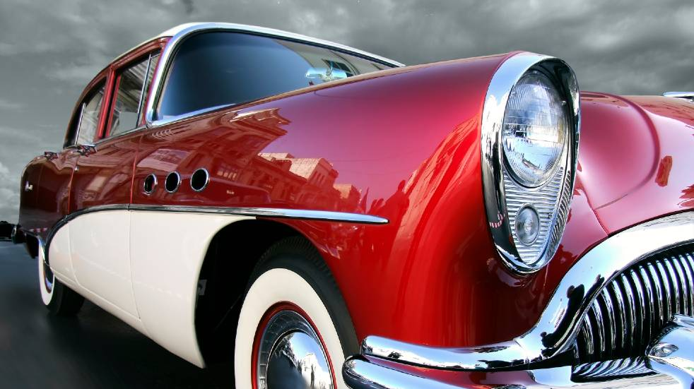 Red classic car front