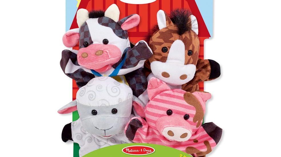 The best travel toys for kids: Melissa & Doug Farm Friends hand puppets