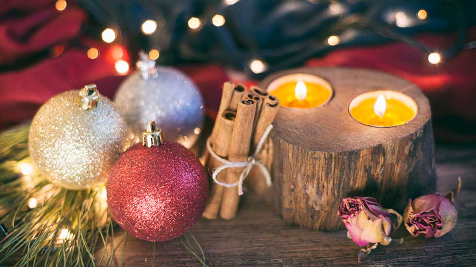 Bring the outside in baubles logs candles