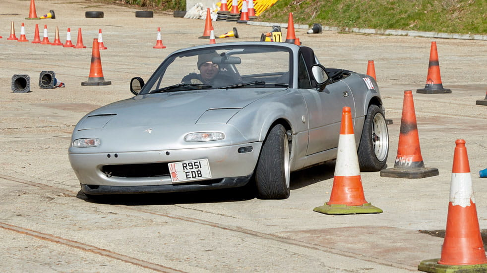 Mark Bradley puts his MX5 throught its paces on the track