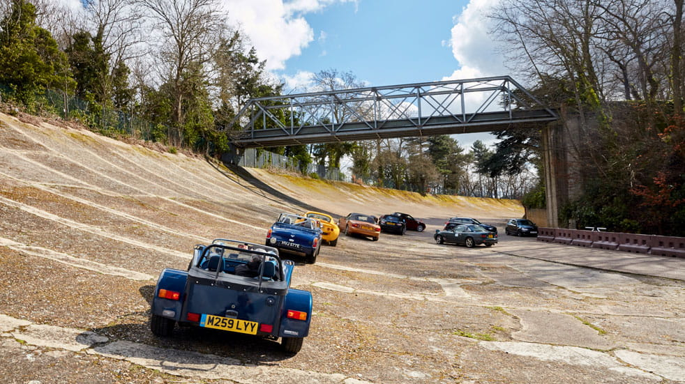 Cars line up on the famous Brooklands banking