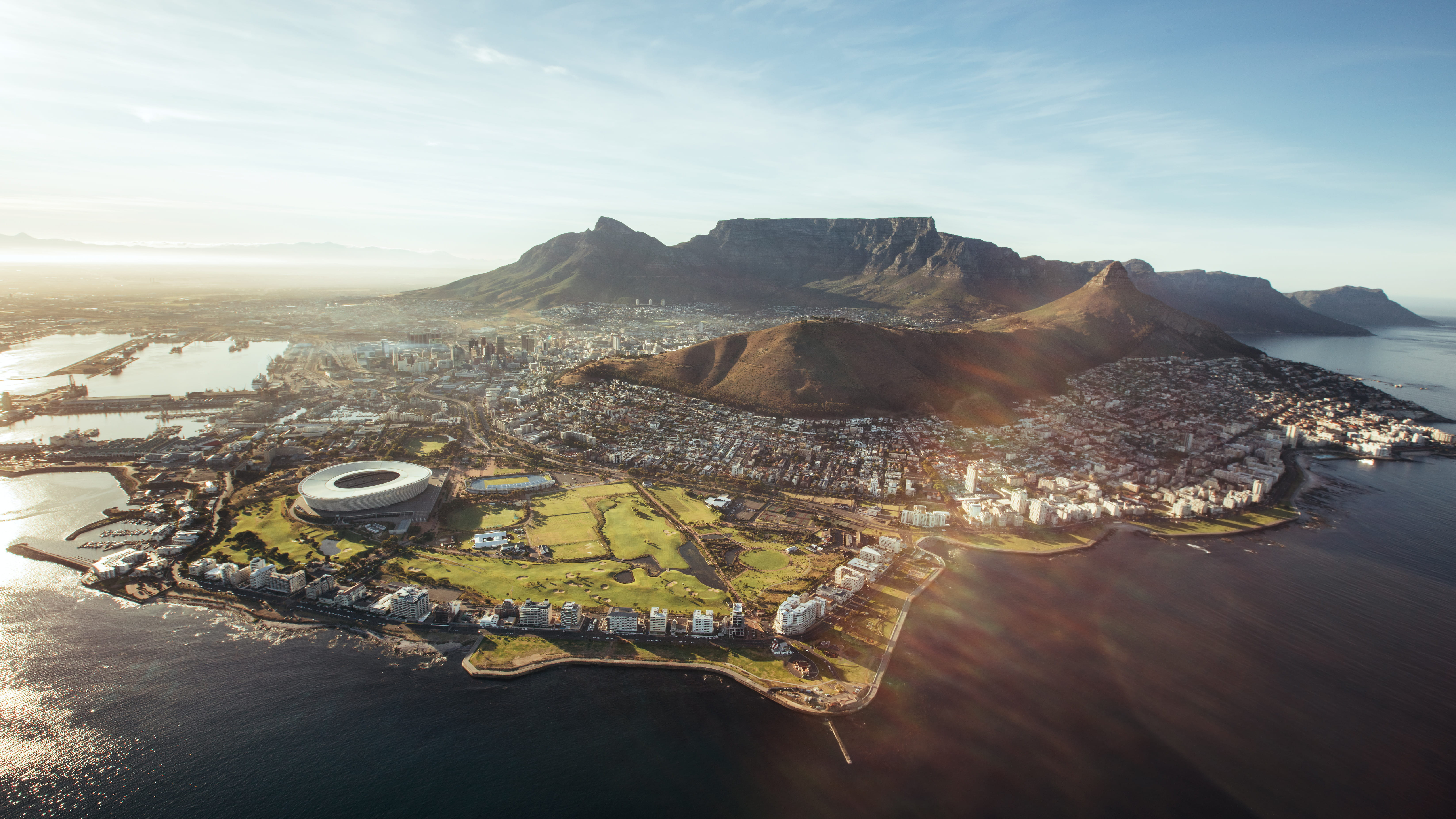 View of Cape Town,with Cape Town Stadium, built for the 2010 World Cup, in the foreground.