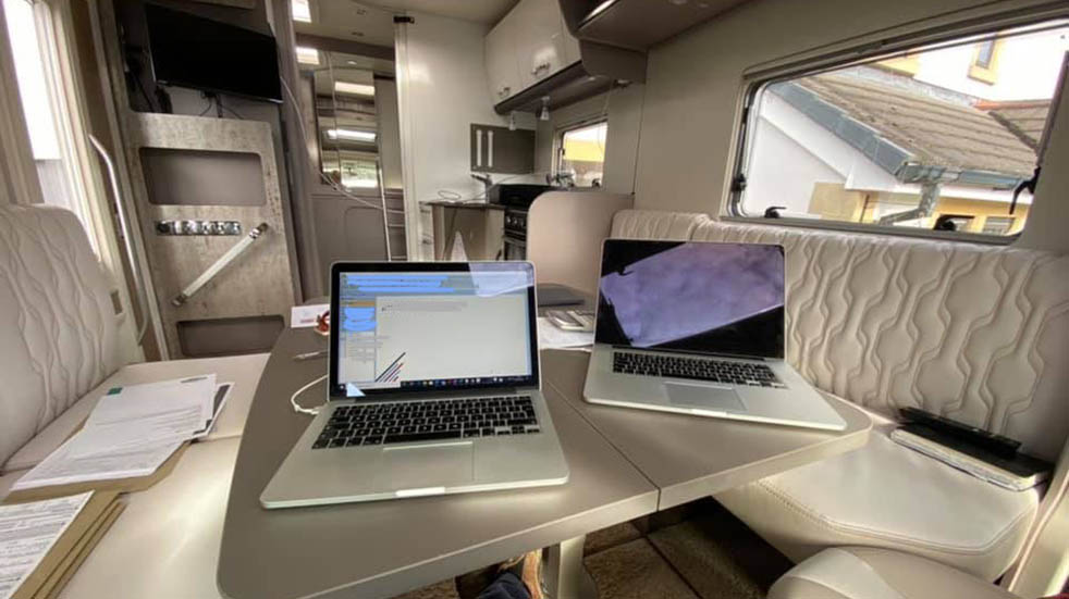 Caravans being used for staycations; Burstner home office