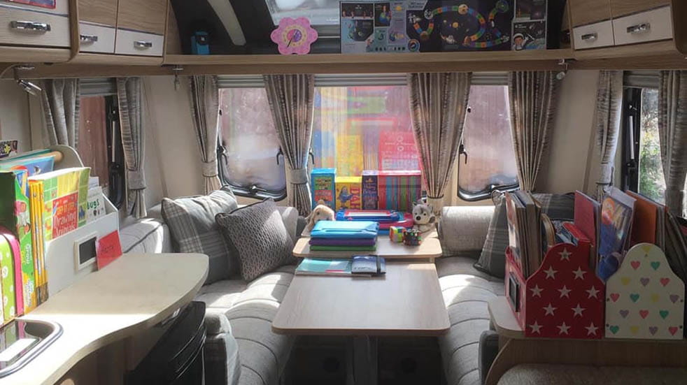 Caravans being used for staycations; Lorisa Talbot classroom