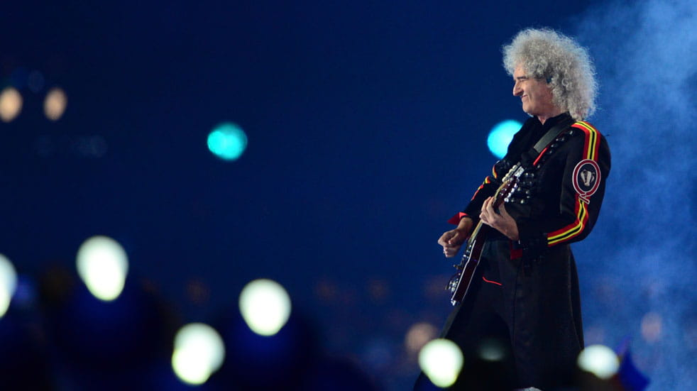 Queen guitarist Brian May on stage