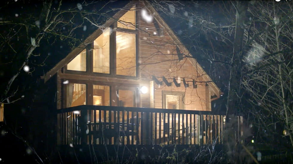 Christmas at Whitemead Forest Park: log cabin accommodation