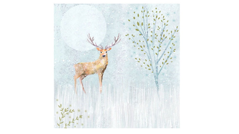 Christmas post stag in winter card