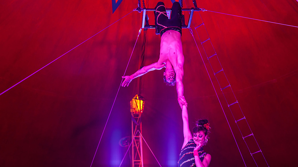 Argentine Trapeze artist Sebastian Gutierrez and his partner Fagnini at the hastings Festival Circus