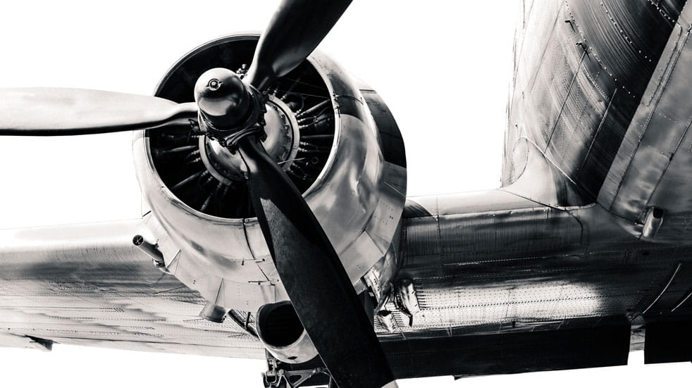 A plane propellor in black and white