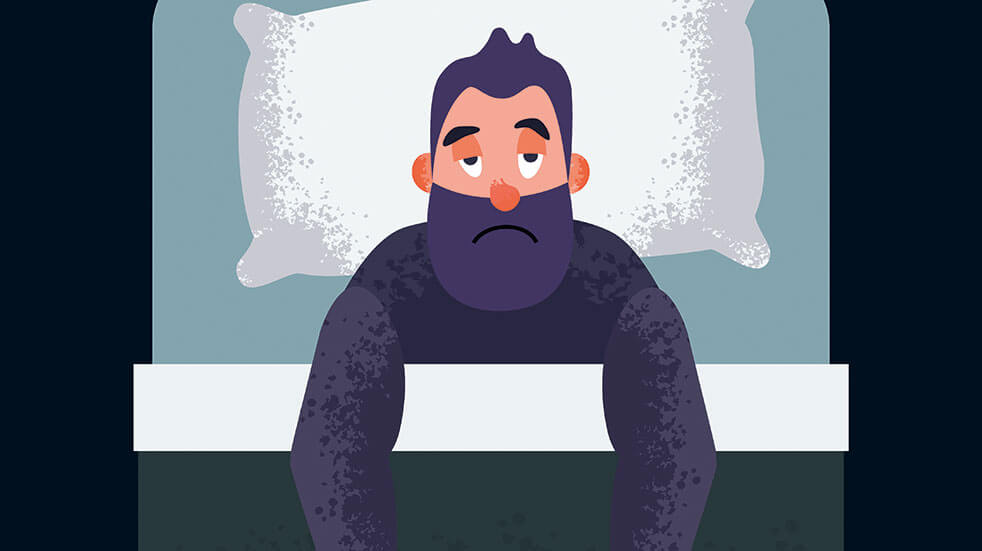 Your health questions - cartoon sick man in bed
