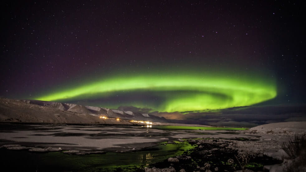Where to see the Northern Lights over Akureyri Iceland