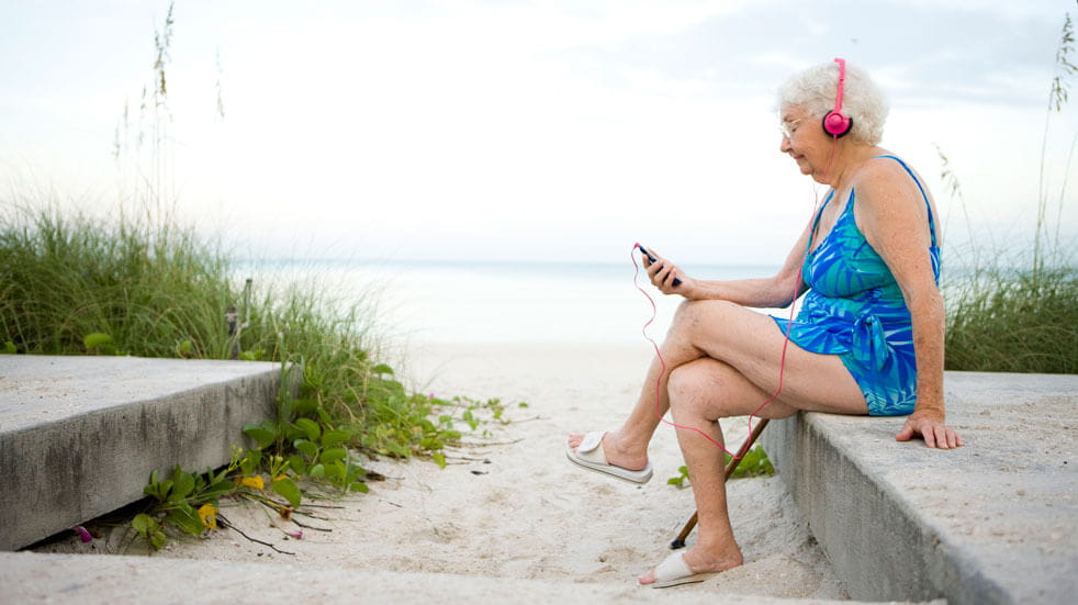 Everything you need to know about podcasts; old woman in swimsuit